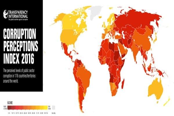 corruption perception index 2016, suriname, transparency international