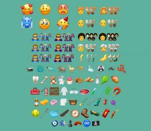 nieuwe emojis, emoticons, 2018